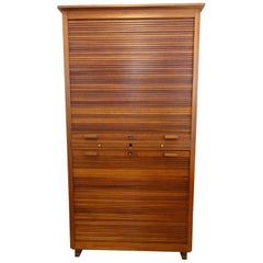 Industrial Portuguese Walnut Roller Blind Door Filing Cabinet by Olaio, 1940s
