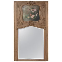 19th Century Country French Antique Stripped Trumeau Mirror