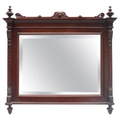 Empire Large Carved Wood Spanish Wall Bevelled Mirror, 19th Century