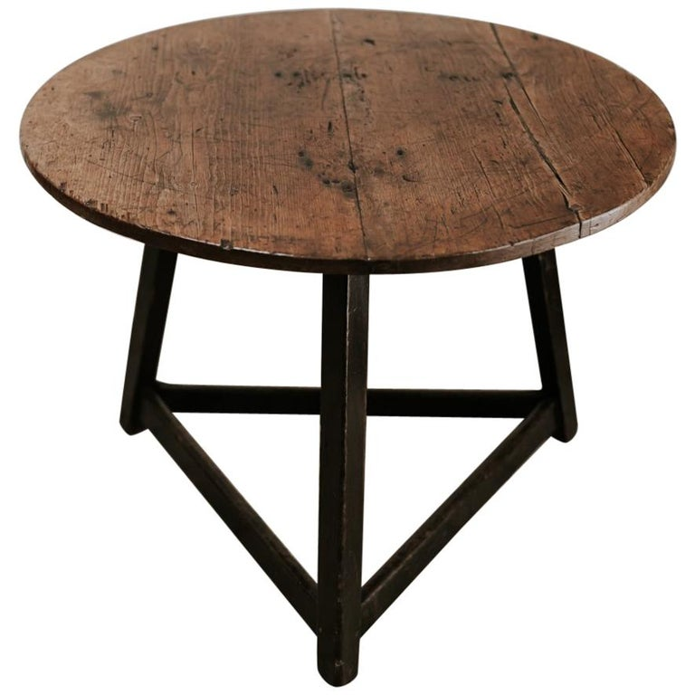18th Century Cricket Table Beautiful Oakwood Top For Sale