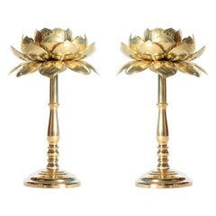 Rare Pair of Tall Brass Candle Sticks by Feldman, circa 1960s