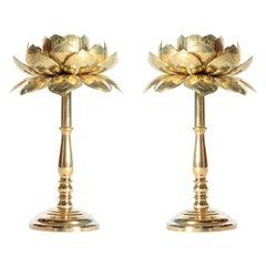 Rare Pair of Tall Parzinger Style Brass Lotus Candle Sticks by Feldman, c. 1960s