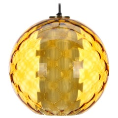 Amber Crystal Light 1950s Midcentury Blown Amber Glass with White Inner Glass