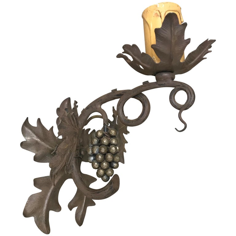 Antique Wine Theme Wall Lamp/Sconce with Wrought Iron Bunch of Grapes & Leafs For Sale