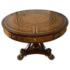 Brass Mounted Mahogany and Leather Drum Table by Maitland Smith