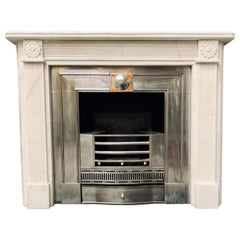 19th Century Statuary Marble Regency Style Carved Fireplace Surround