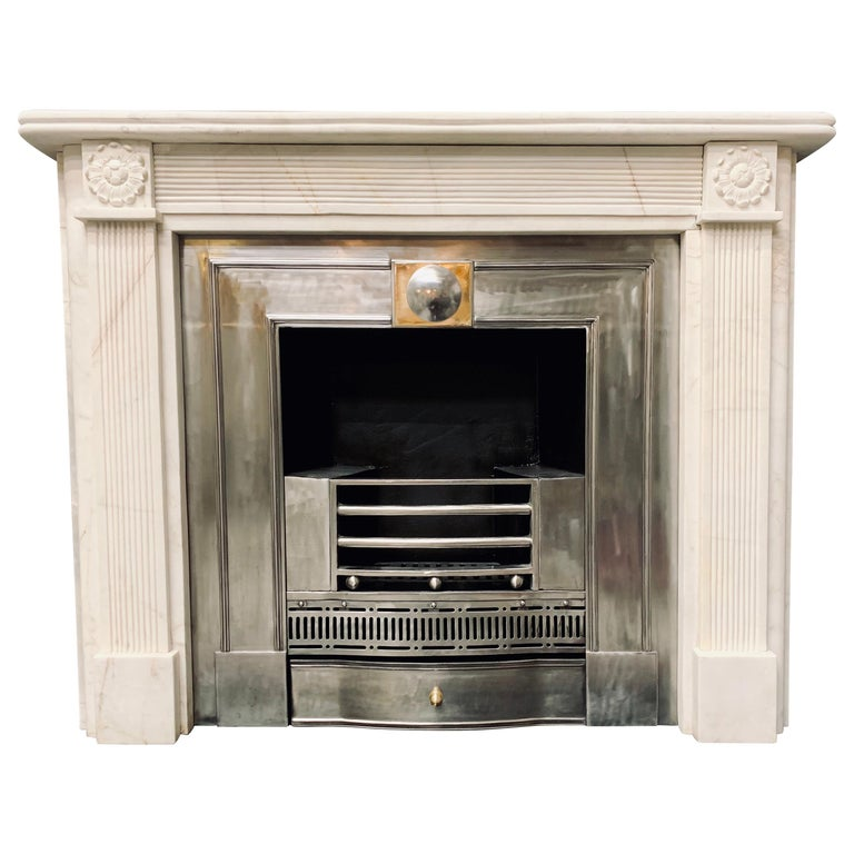 19th Century Statuary Marble Regency Style Carved Fireplace Surround For Sale