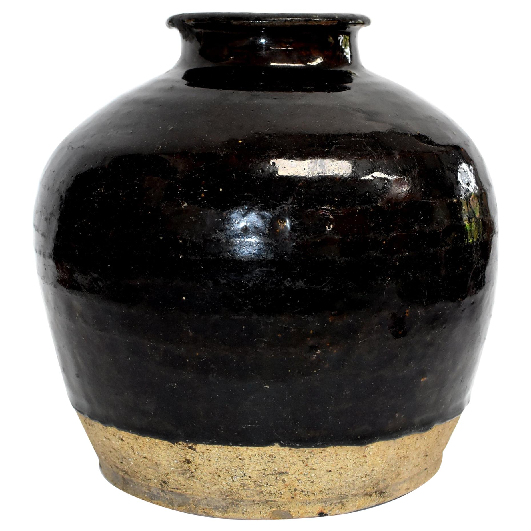 Large Antique Black Jar, Handmade Chinese Pottery
