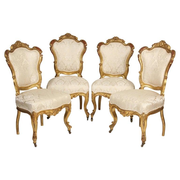 Set of 4 Napoleon III Giltwood Side Chairs For Sale