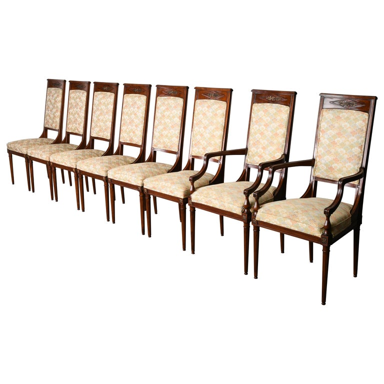 Neoclassical Set of Eight Mahogany Dining Chairs, 1960s For Sale