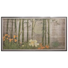 Japanese Four-Panel Screen, Moonlit Bamboo Grove with Summer Flowers