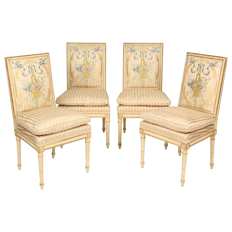 Set of 4 Louis XVI Style Painted and Partial Gilt Side Chairs For Sale