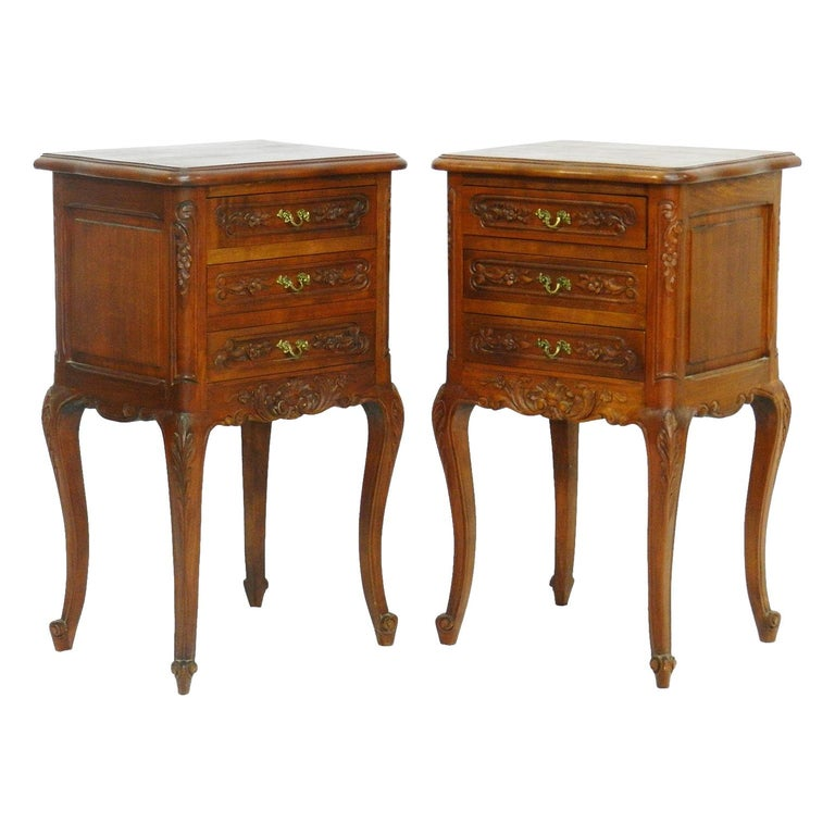 Pair of Nightstands French Side Cabinets Bedside Tables, 20th Century For Sale