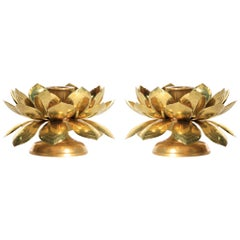Feldman Brass Lotus Candle Holders