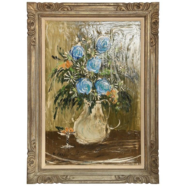 Original Midcentury Still Life Oil Painting For Sale