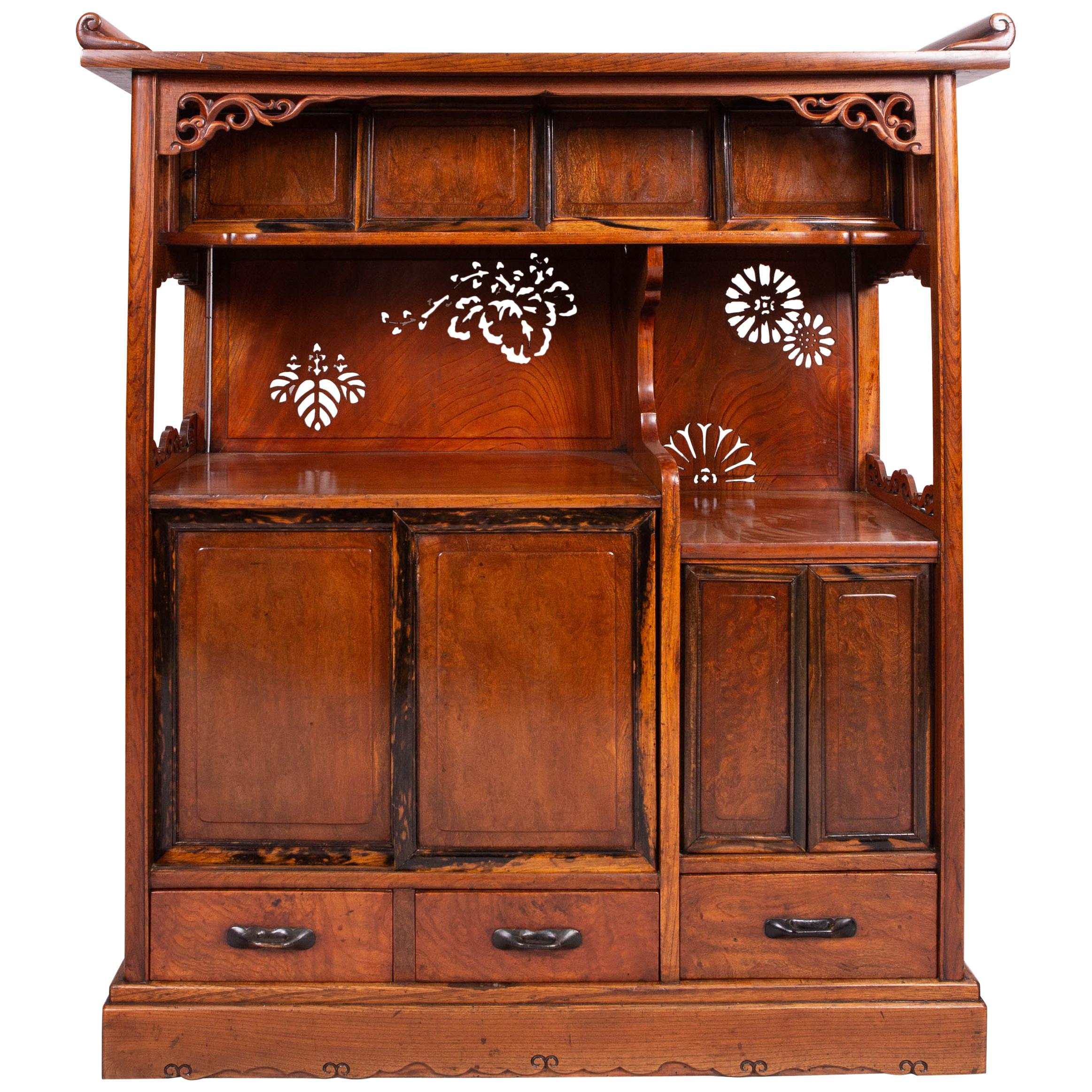 Japanese Tana 'Tea Cabinet' Made of Keyaki Wood