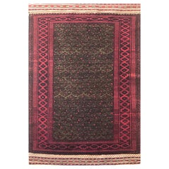 Vintage Persian Hand Knotted Green Red Tribal Baluchi Rug, circa 1960