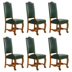Six Dining Chairs Green Leather Upholstered, French, circa 1920