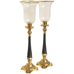 Pair of Neoclassical Brass Pineapple Hurricanes