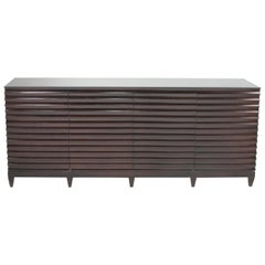 Large Impressive Barbara Barry for Baker Ebonized Low Fluted Cabinet Sideboard