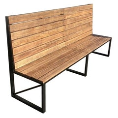 New Park or Garden Bench in Iron Structure with Wood Slabs, Indoor and Outdoor