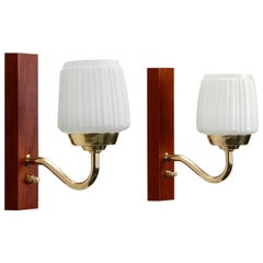 Teak Wall Lights 'Pair', 1950s Scandinavian Sconces with Glass, Brass and Teak
