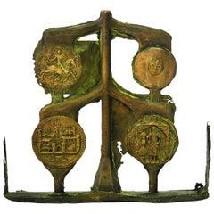 Arts & Crafts French Bronze Sculpture Medals Unique Historic Brutalist Style