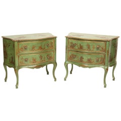 Pair of Italian Green Chinoiserie Decorated Commodes