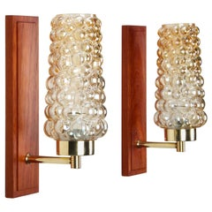 Teak Wall Lights, 1950s Pair of Wall Lamps with Pressed Glass, Brass and Teak