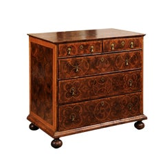 William & Mary Style English Oyster Veneer Chest, 18th Century