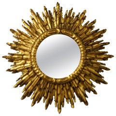 Gilded Wooden Sunburst Mirror from France, circa 1920