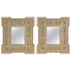 Pair of Middle Eastern Mother of Pearl Inlaid Mirrors