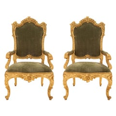 Pair of Roman 18th Century Louis XV Period Giltwood Throne Armchairs