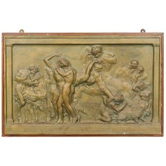 Large Painted Gilt Plaster Frieze