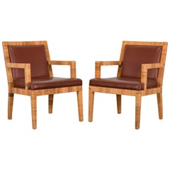 Pair of Rattan and Leather Armchairs by Bielecky Brothers, 1980s