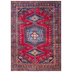 Vintage Persian Hand Knotted Geometric Medallion Red Viss Rug, circa 1960
