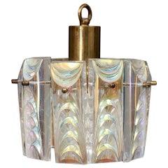 Structured Iridescent Glass Pendant