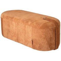 Suede Time Capsule Style Pouf Bench