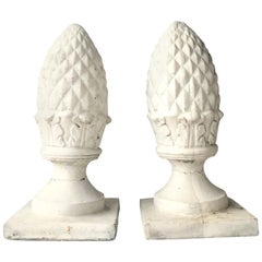 20th Century Pair of Cast Stone Sculptural Cone Form Finial Sculptures