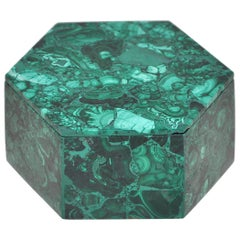 Vintage Malachite Natural Gem Stone Green Jewelry Box