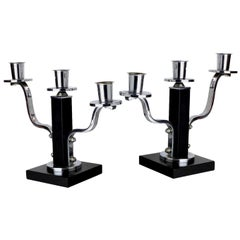 High Style Pair of Modernist Art Deco Candlesticks