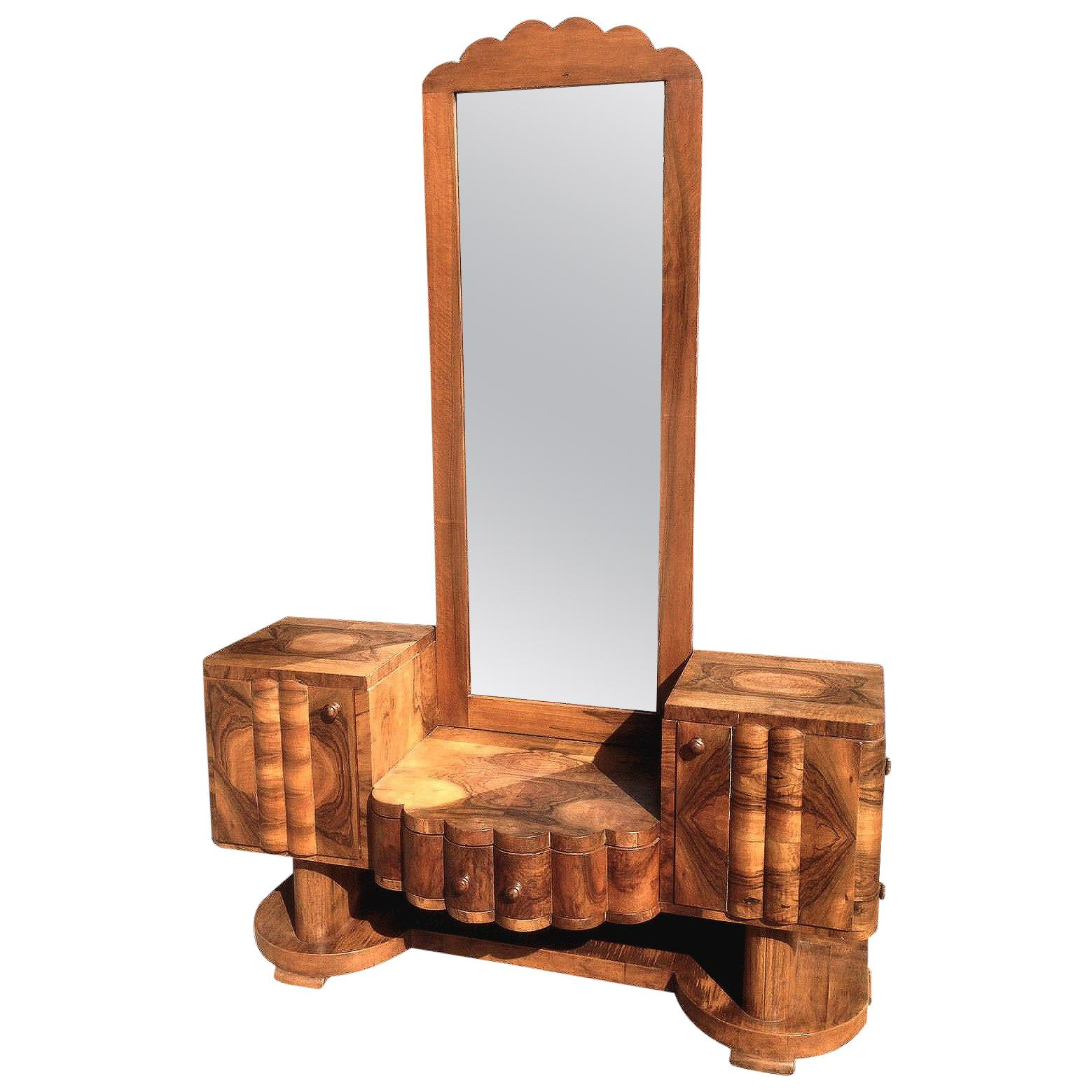 Art Deco Walnut Dressing Table Mirror, Circa 1930s