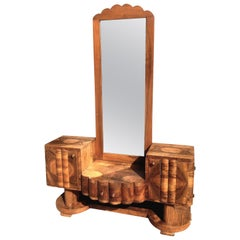 1930s Art Deco Walnut Dressing Mirror