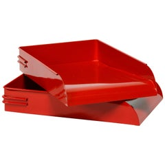1930s Steel Letter Tray Refinished in Gloss Red