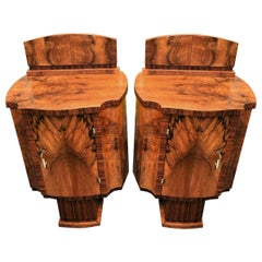 Art Deco Matching Pair of High Style Bedside Cabinet Tables, circa 1930