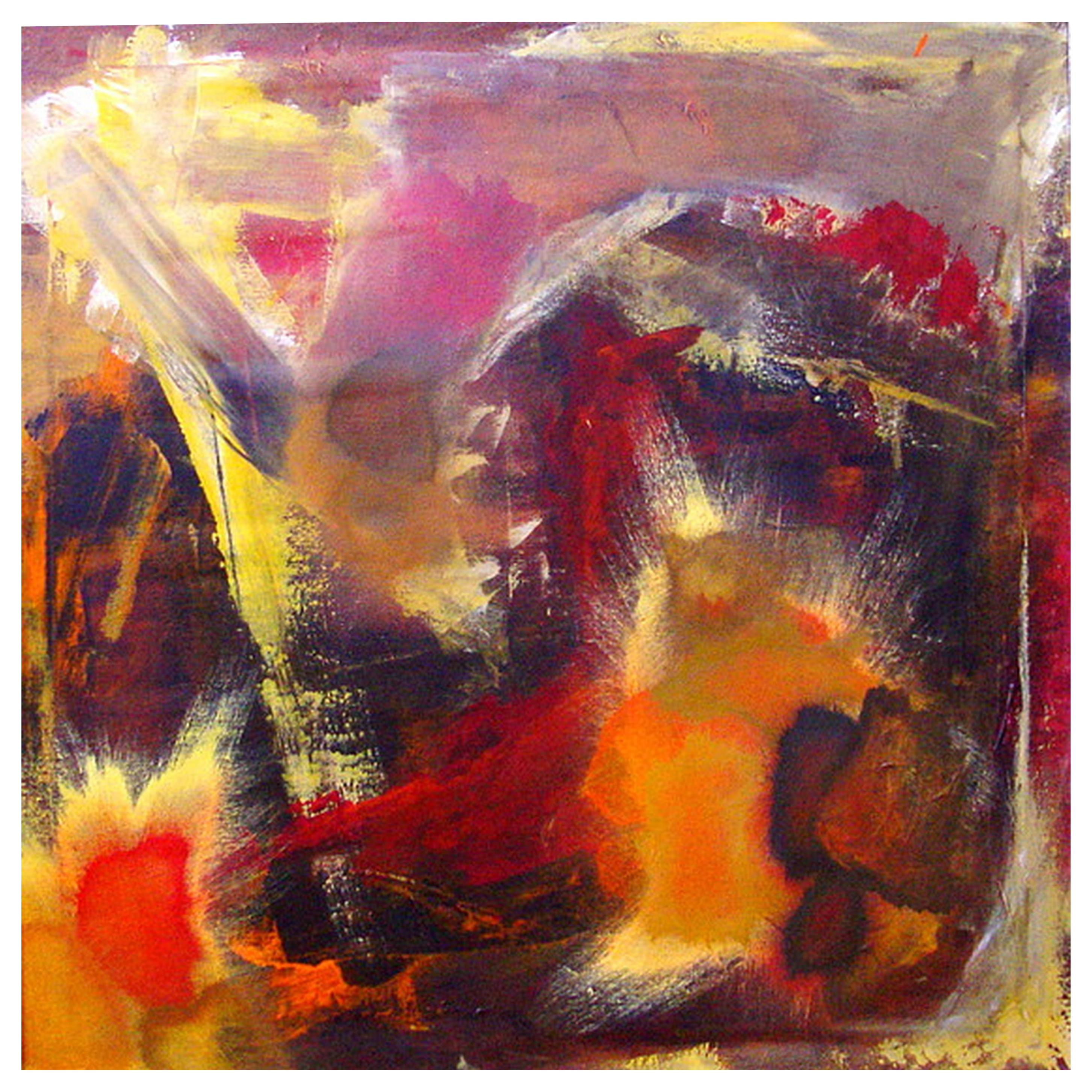Abstract Expressionist Painting, Acrylic on Canvas, Framed, Signed