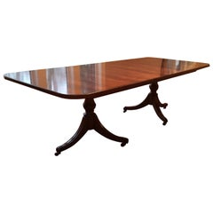 George III Style Mahogany Double Pedestal Dining Table by Maitland-Smith, 1960s