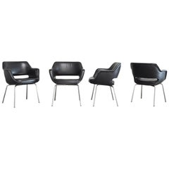 Olli Mannermaa Set of 4 Leather Kilta Chair by Eugen Schmidt & Cassina Martela