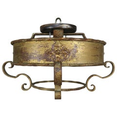 Italian Gothic Style Gilt Metal Flush Mount Light Fixture