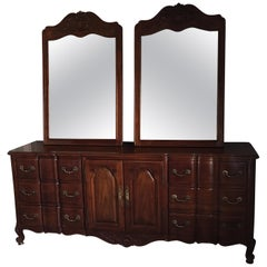20th Century Provincial Style Double Dresser and Pair of Mirrors by Widdicomb